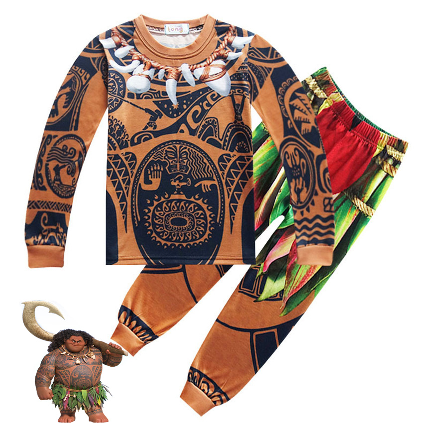 Cosplay Summer Child Boys Costume Moana Maui Toddler Kids Clothing Set Cartoon Vaiana T Shirts Sports Suits 2 Pcs Top Tees+Pants boys batman clothing set kid superman short sleeve t shirt long jeans children summer cartoon superhero cosplay costume