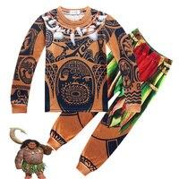 Cosplay Summer Child Boys Costume Moana Maui Toddler Kids Clothing Set Cartoon Vaiana T Shirts Sports