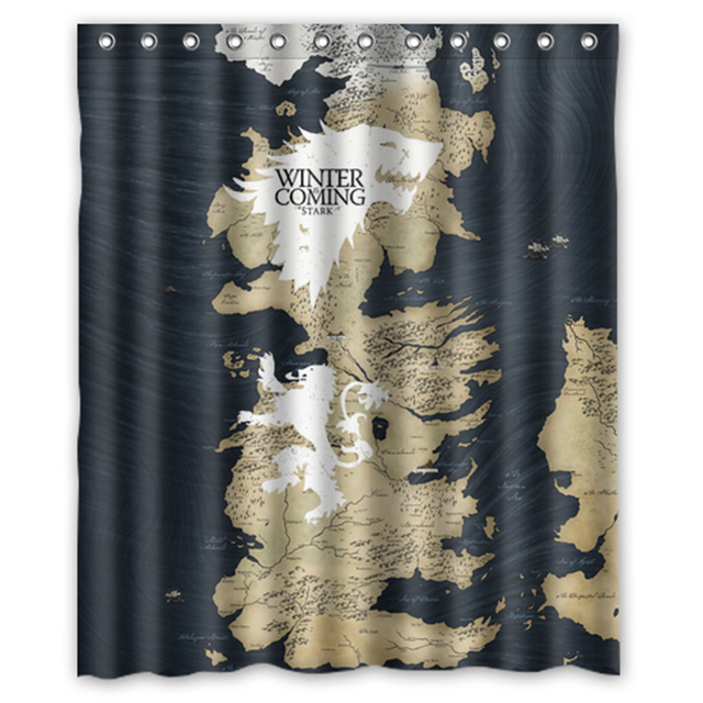 17 54 21 De Reduction Game Thrones Carte Stark Lannister Design Personnalise Tissu Rideau Salle De Bain Impermeable Rideaux De Douche 48x72 60x72