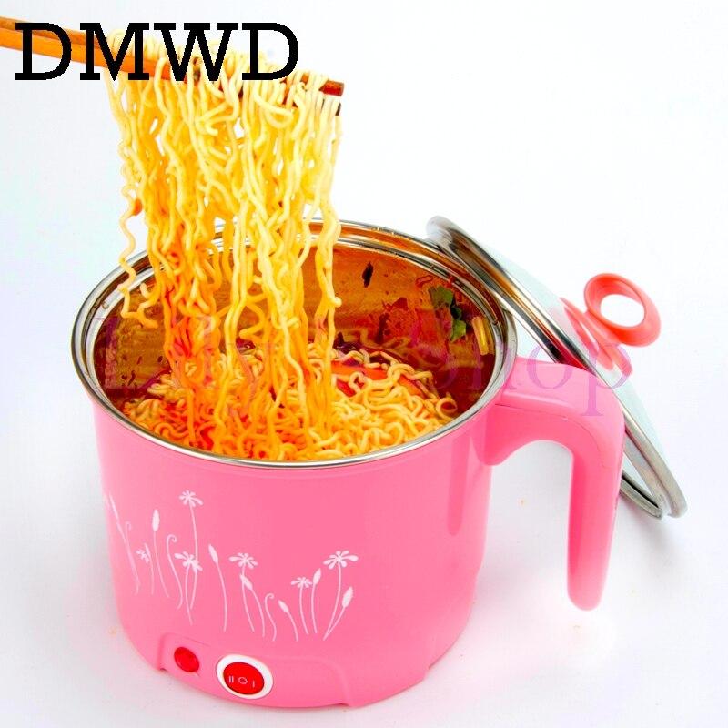 DMWD multifunción sartén eléctrica de acero inoxidable olla caliente fideos olla de arroz al vapor de huevo de la olla de sopa calefacción MINI pan 1.5L de la UE nosotros