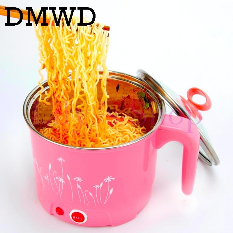 DMWD многофункциональный Электрический сковородке Нержавеющаясталь Hot pot рисовой лапшой Плита пару яйцо суп мини Отопление Пан 1.5L ЕС и США