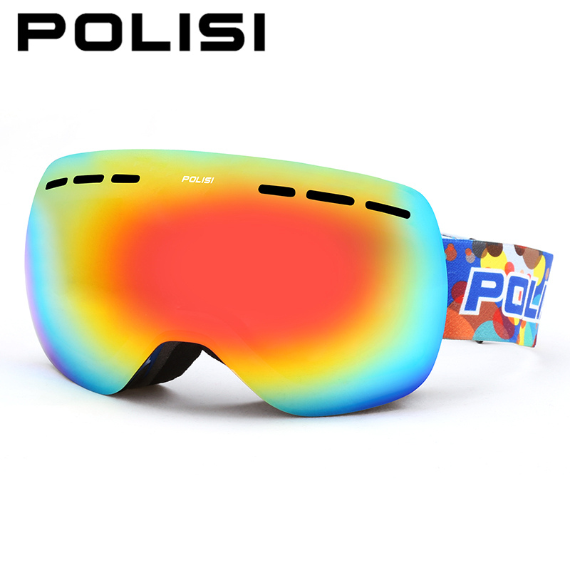 POLISI Men Women Ski Snowboard Snowmobile Snow Goggles Anti-Fog UV400 Skiing Eyewear Winter Double Layer Anti-Fog Lens Glasses цена 2016