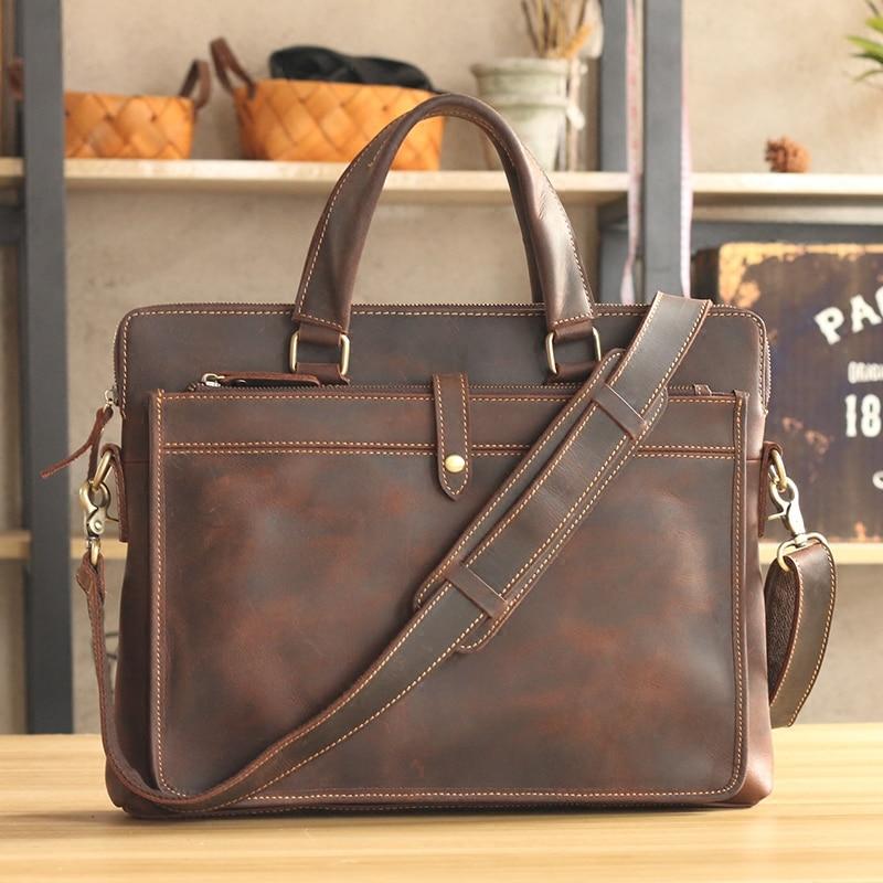Винтажные модные брендовые дизайнерские кожаные мужские сумки Crazy Horse 14 сумка на плечо для ноутбука из натуральной кожи повседневный мужской портфель
