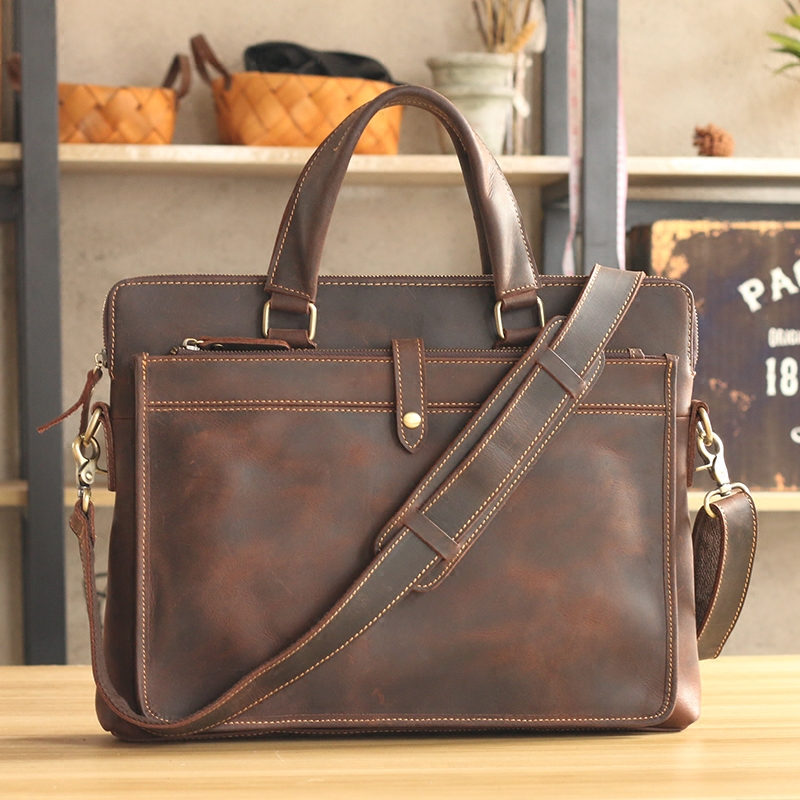 "Vintage Fashion Brand Designer Crazy Horse Leather Men Handbags 14"" Laptop Shoulder Bag Genuine Leather Casual Men Briefcase"