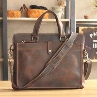 Vintage Fashion Brand Designer Crazy Horse Leather Men Handbags 14 Laptop Shoulder Bag Genuine Leather Casual