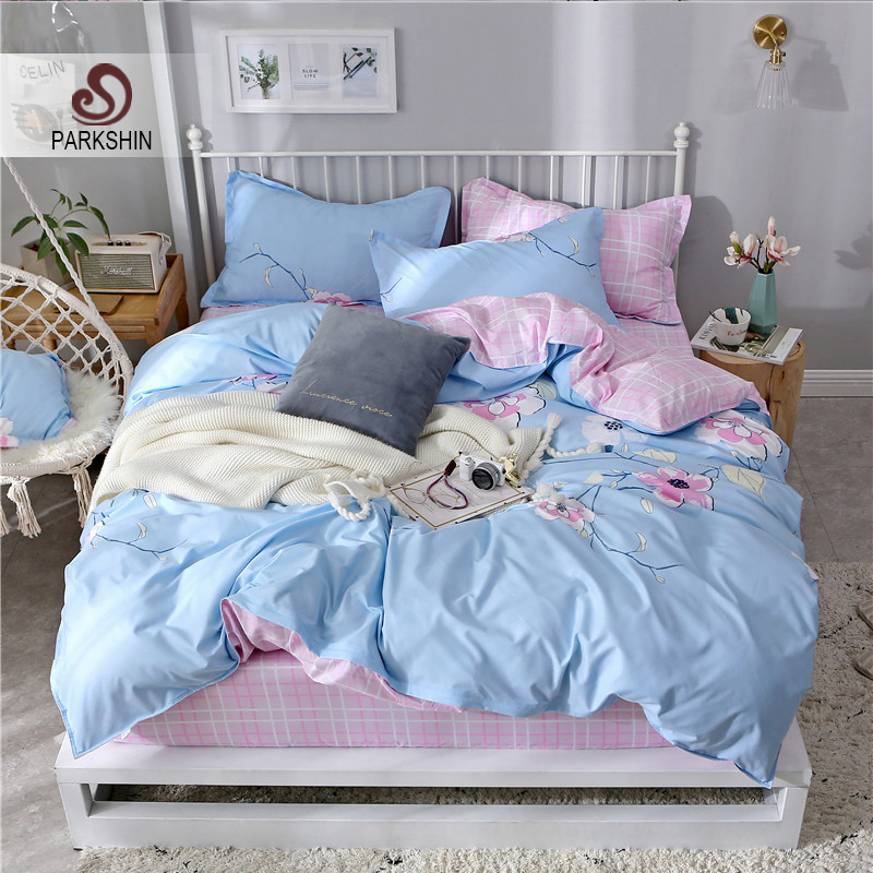 ParkShin Flower Pattern Bedding Set Duvet Cover Fitted Sheet Pillowcase Double King Size Corners Bedspread Elastic Sheets Set