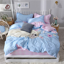 ParkShin Flower Pattern Bedding Set Duvet Cover Fitted Sheet Pillowcase Double King Size Corners Bedspread Elastic Sheets