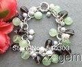 White Pearl&Smoky Quartz&Prehnite Bracelet