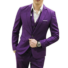 Three Piece Purple Evening Party Formal Men Suits 2018 Trim Fit Notched Lapel Custom Made Wedding Tuxedos (Jacket + Pants +Vest)