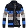 O novo 2016 gola cardigan masculino espessamento suéter listrado para o inverno