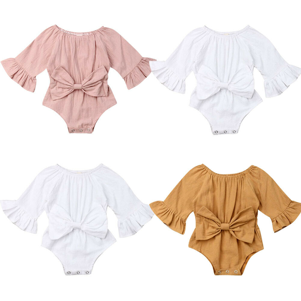 0-24M Newborn Infant Baby Girl Clothes Ruffle Long Sleeve Rompr Jumpsuit Summer Bow Outfit Clothing Solid Ropa Bebe