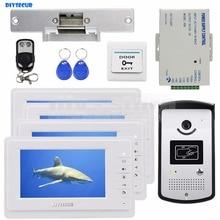 DIYSECUR Electric Strike Lock 7 inch Color Video Door Phone System 700TVL IR Camera RFID Keyfobs Unlock Remote
