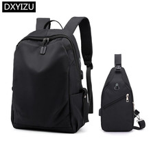 DINGXINYIZU college student school backpack men black travel with luggage belt usb bag for laptop 15.6 chest set