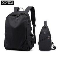 DINGXINYIZU college student school backpack men black travel backpack with luggage belt usb bag for laptop 15.6 chest bag set