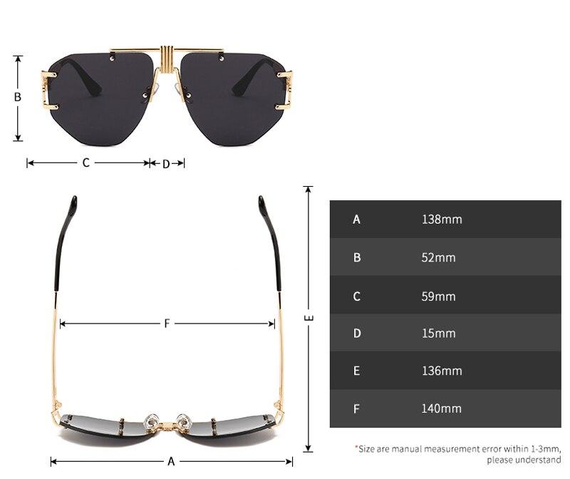 c38aaf299 Compre Peekaboo Óculos De Sol Sem Moldura Oversized Mulheres De ...