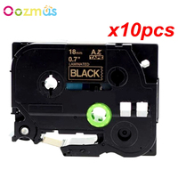 Oozmas 10pcs/lot TZe 344 label tape compatible Brother P touch tape 18mm TZe 344 TZ 344 Gold on Black Printer Ribbons