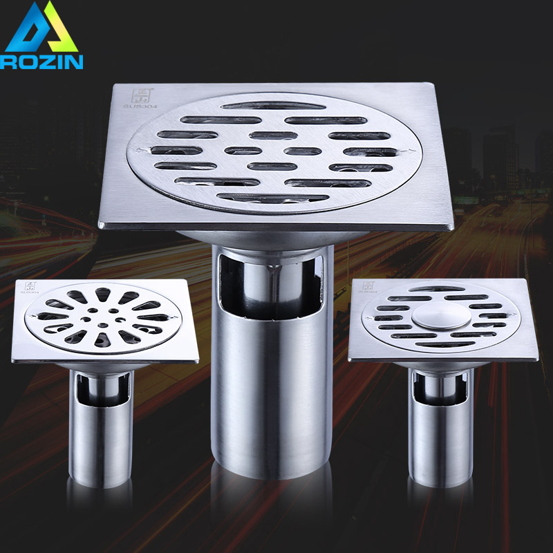 все цены на Stainless Steel Floor Drain Square Bathroom Shower Waste Drainer 10cm Kitchen Double Anti-odor Floor Drain Grate Cover онлайн