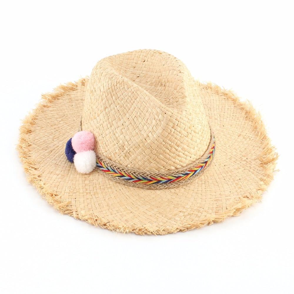 Women Summer Panama Straw Hats Ladies Fashion Pompom Beach Sun Hat Casual  Chapeau Femme(china