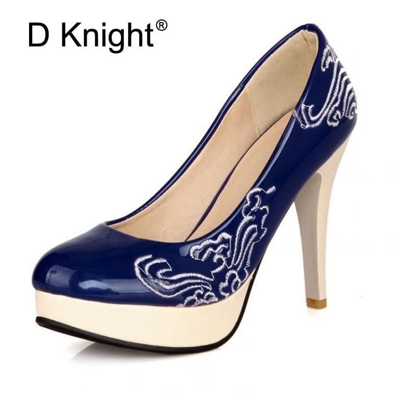 Дамы Повседневная Платформа Туфли на Высоких Каблуках Мода Патент Вышивка Тонкие Каблуки Женщины Насосы Размер 33-48 Женская Свадебная Обувь Stiletto