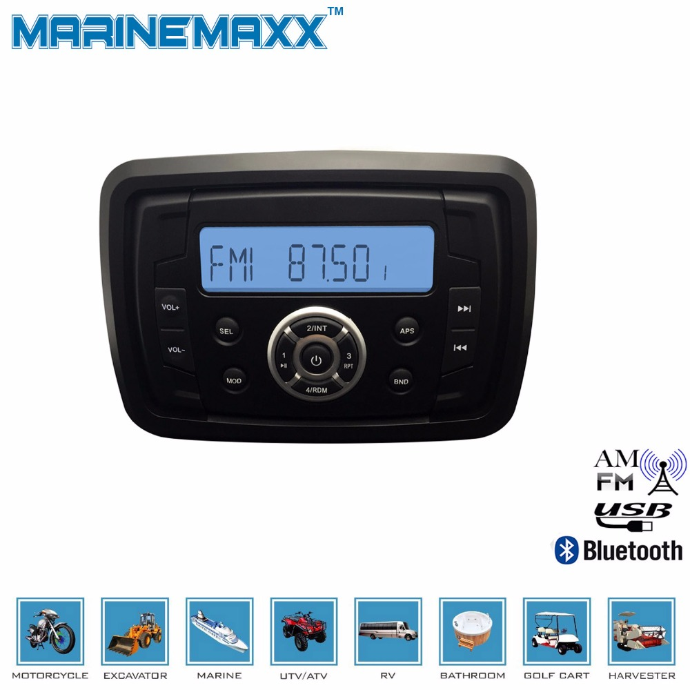 Waterproof Marine Bluetooth Stereo Motorcycle Audio Boat Radio RV Car MP3 Player RZR Golf Cart Receiver UTV Sound System - E-MAX Electronics store
