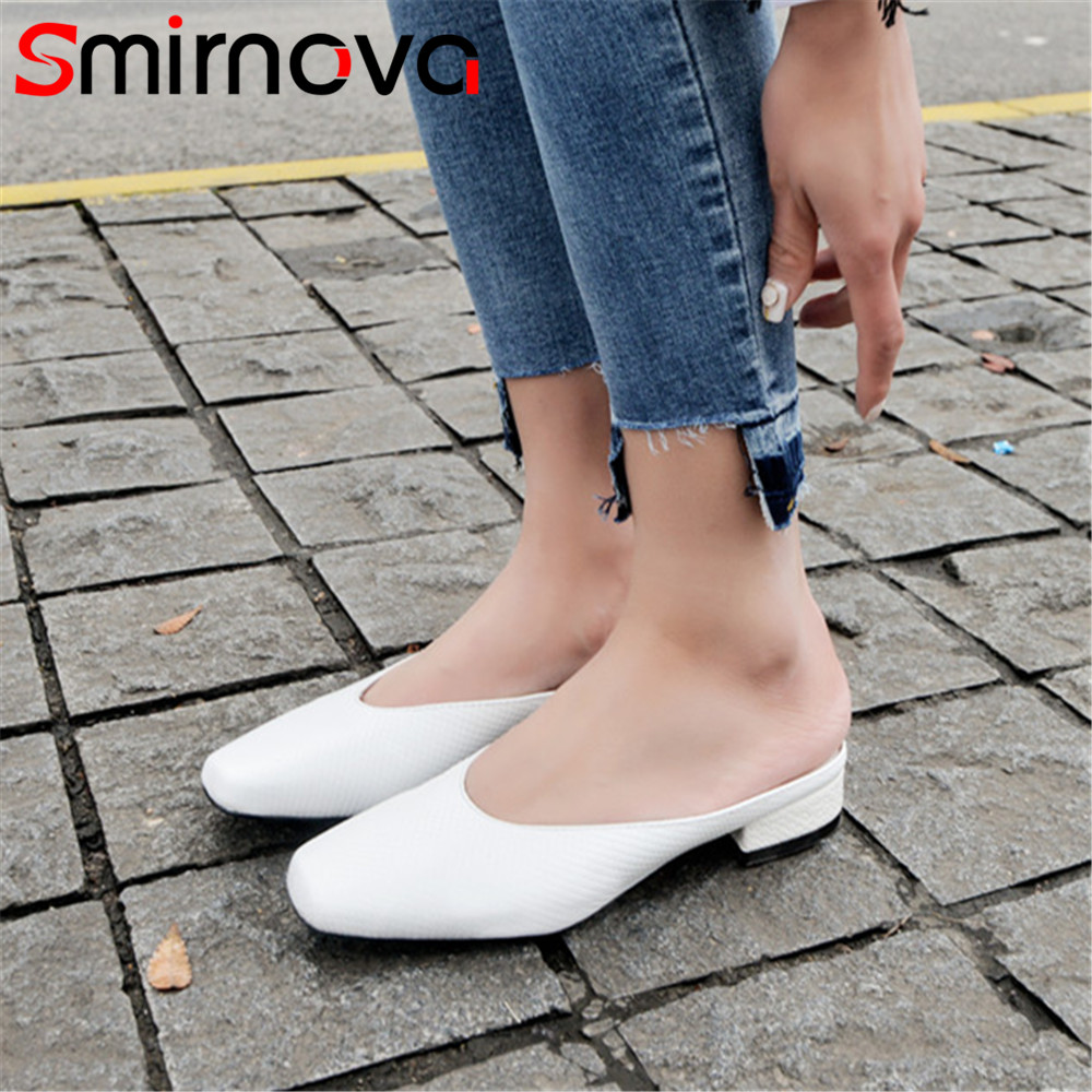 Smirnova big size black white fashion summer new shoes woman square toe shallow mules shoes sandals women genuine leather shoes цена 2017