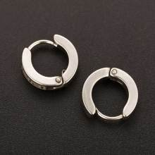 Men's Stainless Steel Round Hoop Crystal Stud Earrings