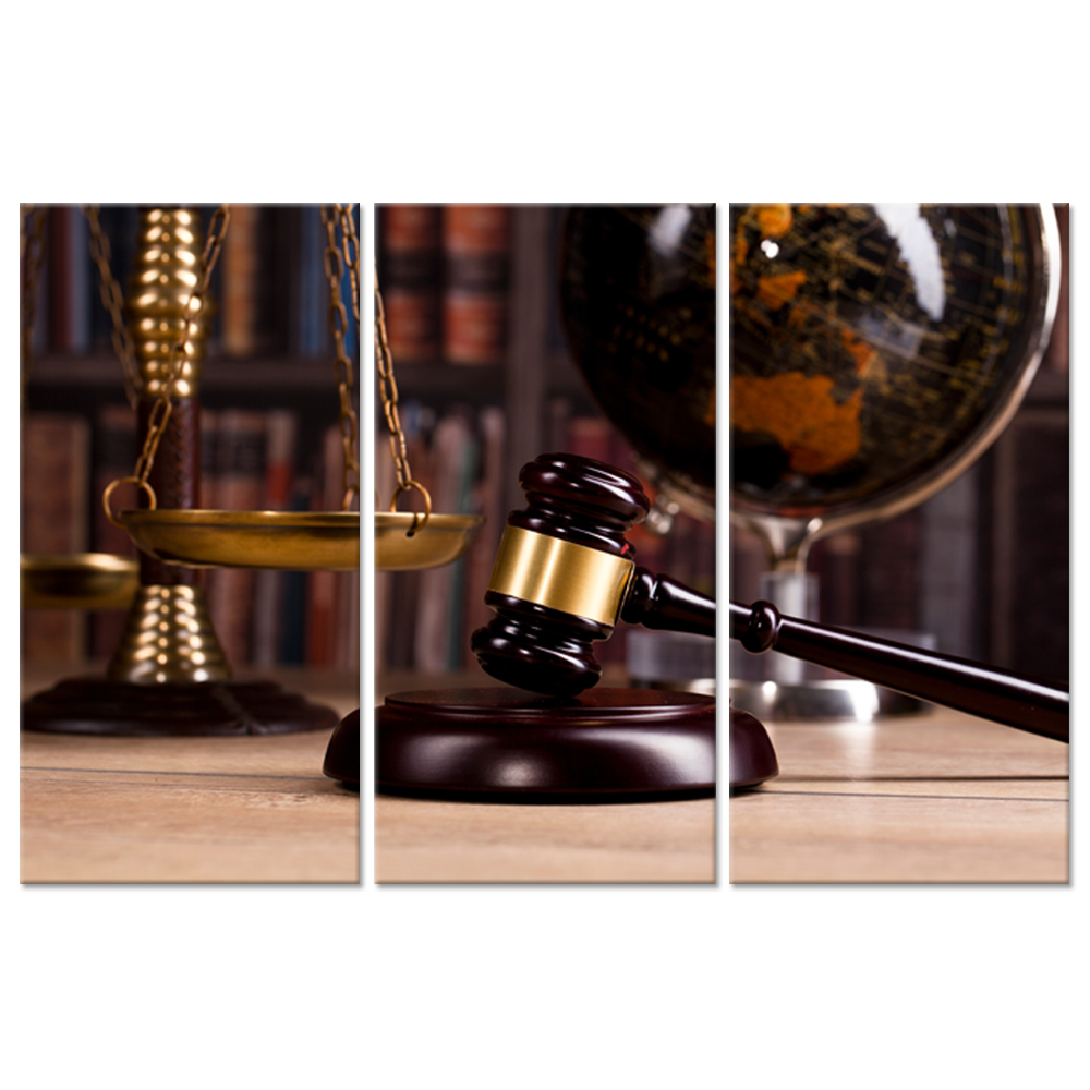 Vintage Office Room Decor 3 Pieces Canvas Wall Art Law Firm Scales Justice Legal Hammer Old Globe Codex Books Picture For Decor