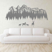Woodland Wall Decals Mountain Forest Silhouette Deer Art Nursery Decor Baby Room  3122
