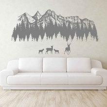 цена на Woodland Wall Decals Mountain Forest Silhouette Wall Decals Deer Mountain Wall Art Nursery Decor Woodland Baby Room  3122