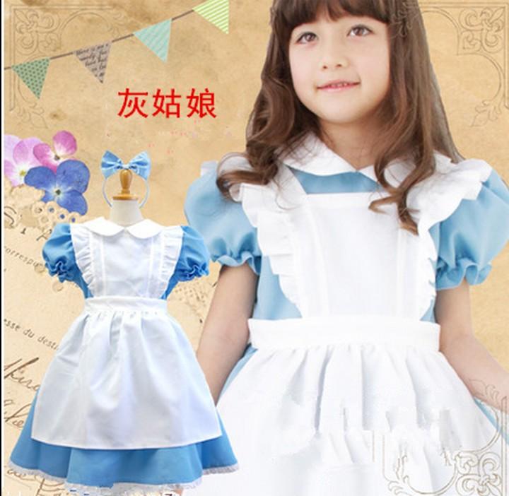 Baby girls maid costume Halloween Kids Girls Alice In Wonderland Party Dress Alice Dream Kids Lolita Cosplay Costume Pink Blue
