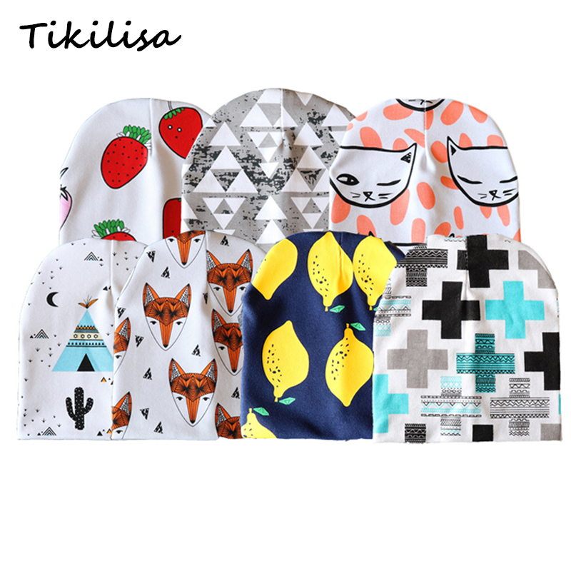 Cartoon Printed Baby Hats Cotton Beanie For Boys Girls Elastic Toddler Caps