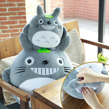 Cute Down Bomull Totoro Plysch Toy Cartoon Dolls Kawaii Toy For Children Gift För Flicka Varma Händer Kudde Stol Kudde