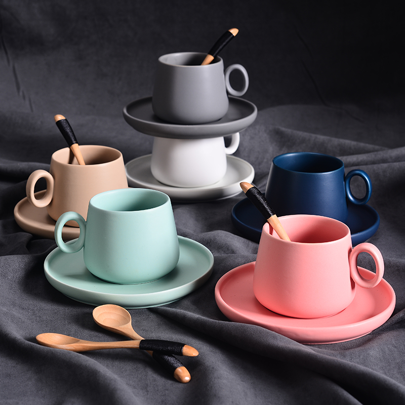 Nordic Ceramic <font><b>Coffee</b></font> <font><b>Cup</b></font> Simple Six-color <font><b>Coffee</b></font> <font><b>Cup</b></font> <font><b>Set</b></font> with Saucer and Spoon Home Office Cafe Fun Gifts Dropshipping image