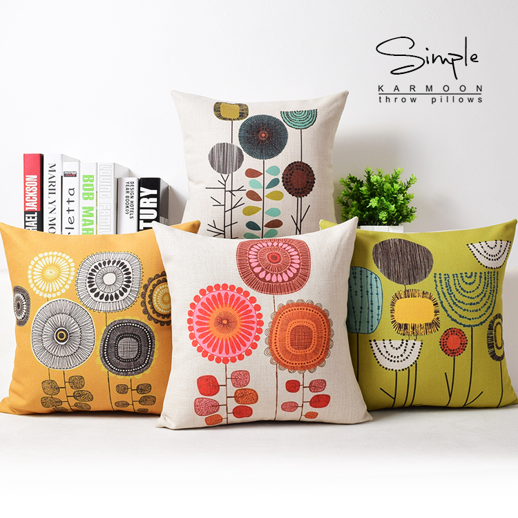 New Floral Dandelion Cushion Cover Linen Orange Yellow