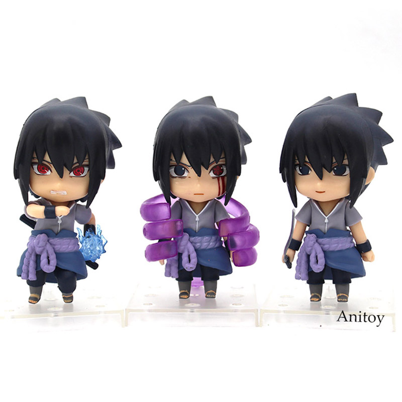 3pcs/set Nendoroid Naruto Shippuden Sasuke figure Uchiha Sasuke PVC Action Figure Collectible Model Toy 9.5cm j ghee naruto shippuden q uchiha sasuke movable 707 nendoroid doll pvc action figure collectible model toy brinquedos