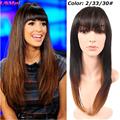 Prevailing Long Silk Straight Synthetic Wigs with Full Bangs Ombre Hair Wig Black to Red Color Less Shiny that Look Real Hair