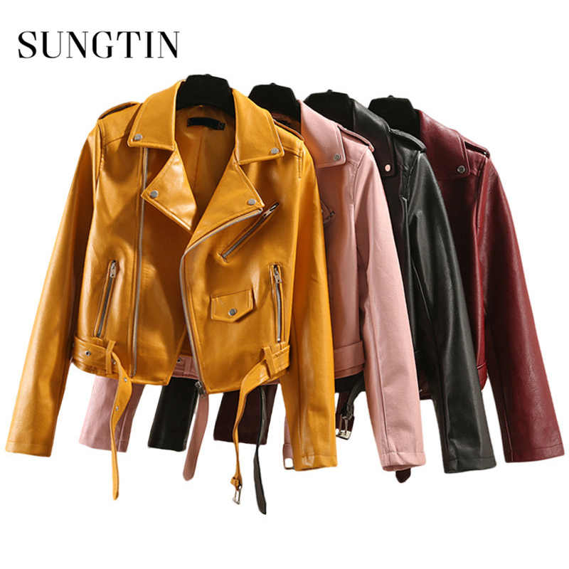 Sungtin Brand PU Leather Jacket Women 5 Color Plus Size New Fashion Short Faux Leather Biker Jacket with Belt Cool Outwear Lady