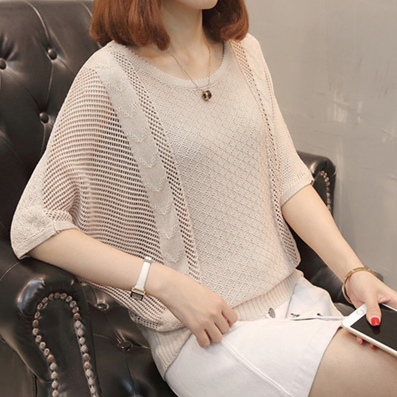 Women Summer Spring Sweater Hollow Out O-neck Transparent Female Jumper Bat Sleeve Ladies Pullover Loose
