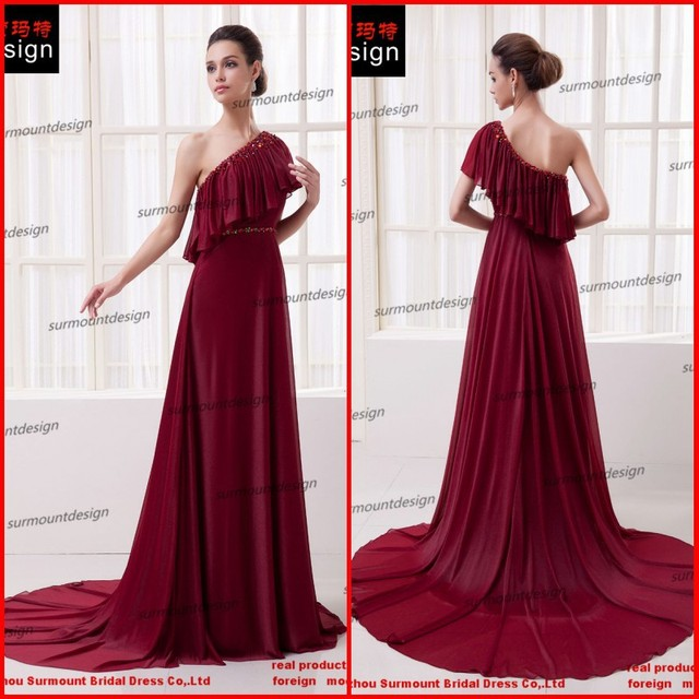 Deep wine 2015 New Arrival Evening Dresses One Shoulder hand sewing ...
