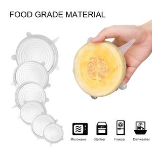 Image 1 - Многоразовые силиконовые эластичные крышки, 6 шт., универсальная крышка, силиконовая пищевая упаковка, чаша, крышка кастрюли, сковороды, кухонные пробки