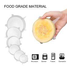 6Pcs Herbruikbare Silicon Stretch Deksels Universele Deksel Silicone Voedsel Wrap Kom Pot Deksel Siliconen Cover Pan Koken Keuken Stoppers