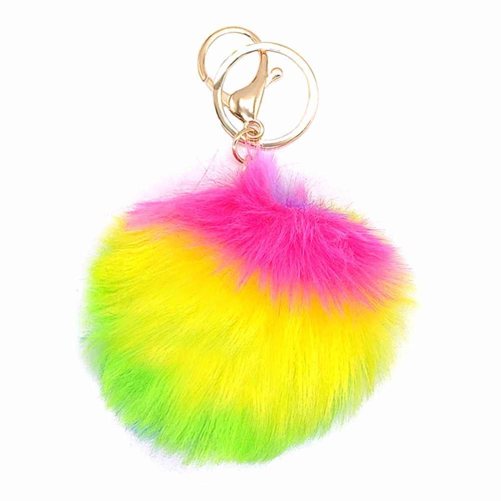 Bonito Do Partido Presentes Do Unicórnio Do Arco Glitter Anel Chave Bola de Pêlo de Coelho Fofo Saco de Presentes para Crianças Meninas Acessórios