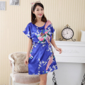 Blue Chinese Lady Summer Faux Silk Robe Dress New Style Sleepshirt Sexy Mini Nightgown Bath Gown Floral Pajama Plus Size WR016