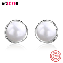 2018 New 925 Sterling Silver Earrings Woman Fashion Charm 8mm Pearl Female Jewelry