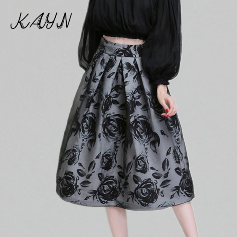 Brand Fashion 2016 Spring Autumn Womens Elegant Double Layer Stitching Organza High Waisted Mid-Calf Tutu Skirts Longa  -  KAYN Boutique Women Clothing store