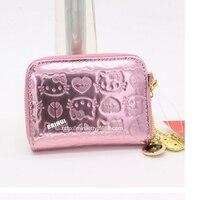 Miễn phí vận chuyển Thời Trang chủ thẻ mèo ví dây kéo phụ nữ dễ thương hộ chiếu bìa chất lượng Cao PU Pink màu sắc mini ví du lịch