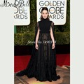 New Trend 73rd Golden Globe Awards Vestido Celebridade 2016 Emilia Clarke Celebrity Dress Lace Black Evening Gowns With Cape