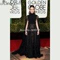 Nueva tendencia 73rd premios globo de oro Vestido Celebridade 2016 Emilia Clarke Celebrity Vestido de encaje negro vestidos de noche con cabo