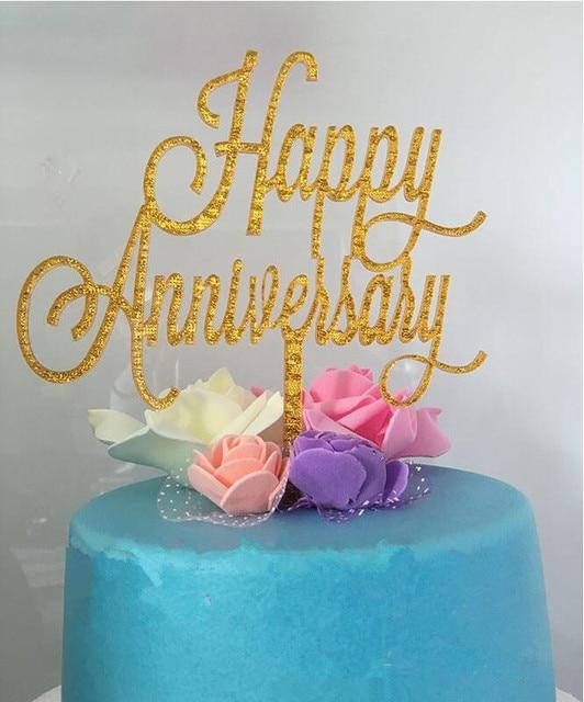 New Fashion Acrylic Cake Topper Sparkle Glitter Gold Happy