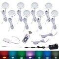 Aiboo 8 RGB Color cambiante LED bajo gabinete iluminación Puck luces atenuación inalámbrica para cocina mostrador muebles estante iluminación